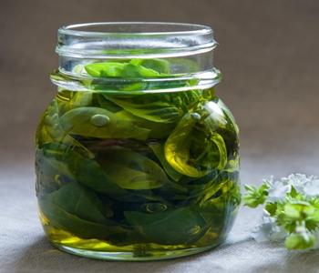 conservare il basilico sotto olio