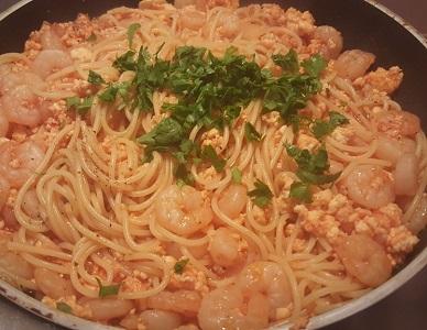 spaghetti ai gamberi cremosi