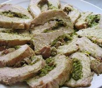 arista farcita con crudo e pesto di pistacchi